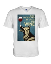 German Shepherd Easily distracted by dogs and wine V-Neck T-Shirt thumbnail