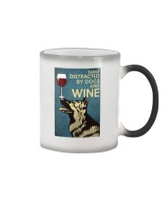 German Shepherd Easily distracted by dogs and wine Color Changing Mug thumbnail
