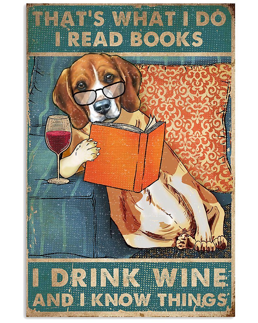 Beagle  I read books I drink wine 24x36 Poster