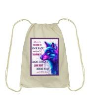 Wolf look back Drawstring Bag thumbnail