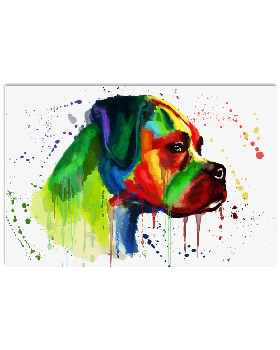 Boxer Water Color 17x11 Poster