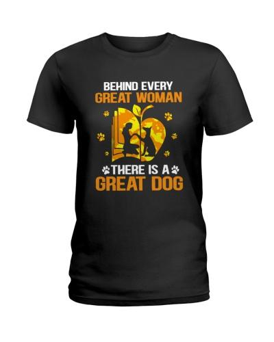 Behind every Great Woman Doberman Dog
