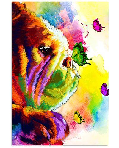 Bulldog Buterfly Water Color