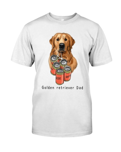 Golden retriever beer dad white
