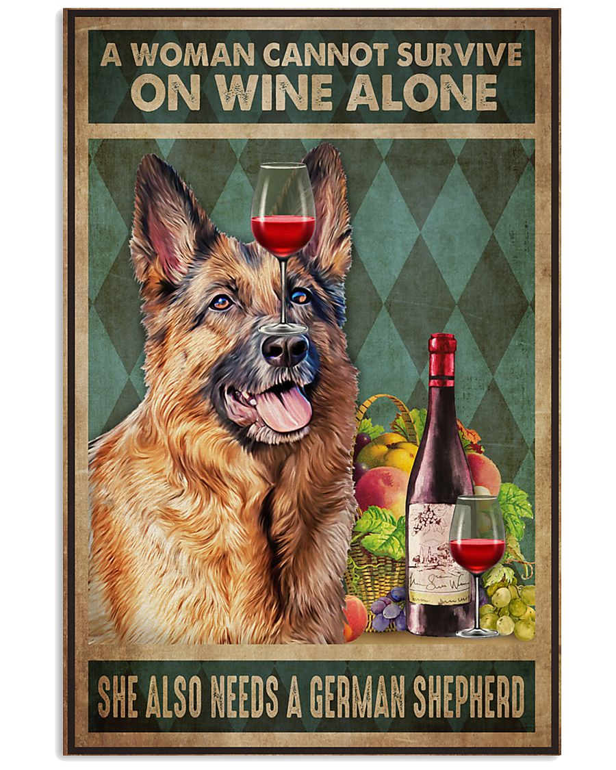 German Sherpherd Wine 24x36 Poster