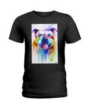 BullDog Poster Flow Art V2 Ladies T-Shirt thumbnail