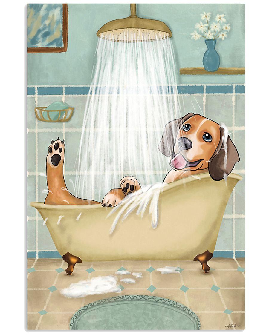 Beagle Bath 16x24 Poster