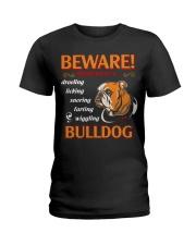 BullDog Hoodie Beware Ladies T-Shirt thumbnail