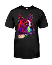 Boston Terrier Poster Water Color Classic T-Shirt thumbnail