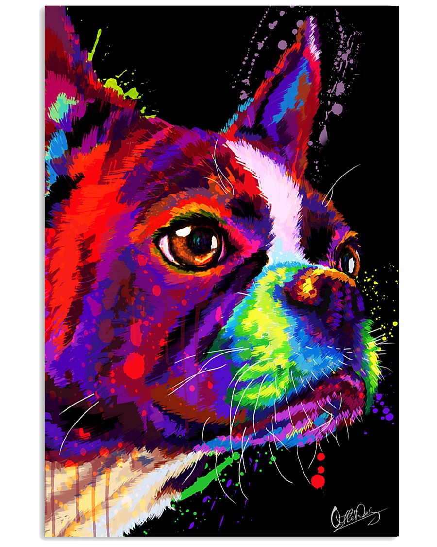 Boston Terrier Poster Water Color 24x36 Poster