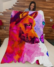 "German Shepherd Buterfly Water Color Large Fleece Blanket - 60"" x 80"" aos-coral-fleece-blanket-60x80-lifestyle-front-04"