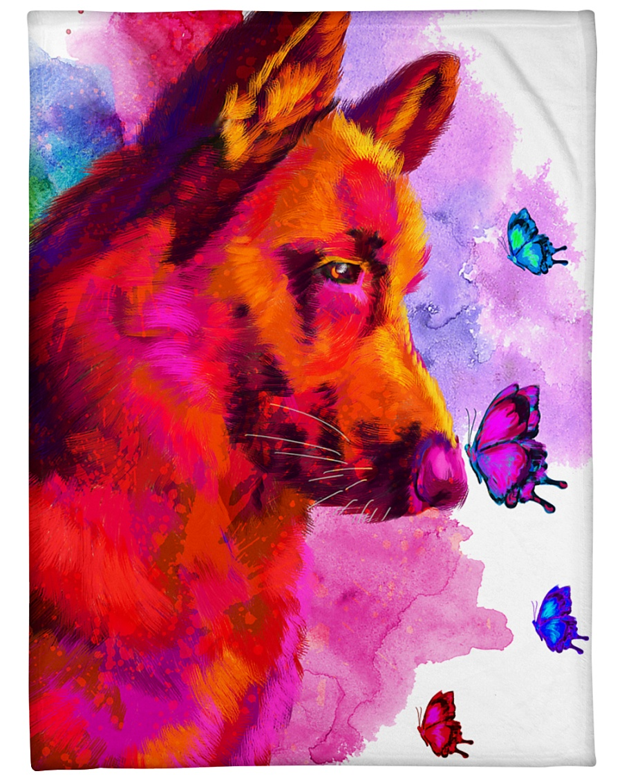 "German Shepherd Buterfly Water Color Large Fleece Blanket - 60"" x 80"""