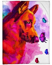 "German Shepherd Buterfly Water Color Large Fleece Blanket - 60"" x 80"" front"