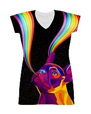 Frenchie rainbow All-over Dress front