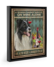 Border Collie Wine 11x14 Black Floating Framed Canvas Prints thumbnail