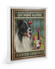 Border Collie Wine 11x14 White Floating Framed Canvas Prints thumbnail