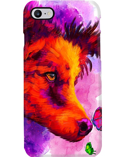 Border Collie Buterfly Water Color Phone Case