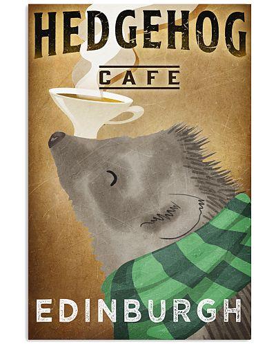 Hedgehog Cafe Poster Vintage