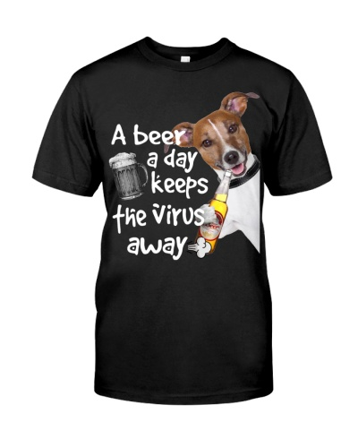 Jack russell A beer day keep the virus away