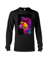 Husky Water Color Art DF1 Long Sleeve Tee thumbnail