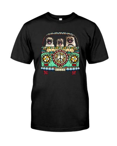 Pug hippie car