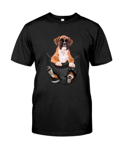 boxer dog in the pocket