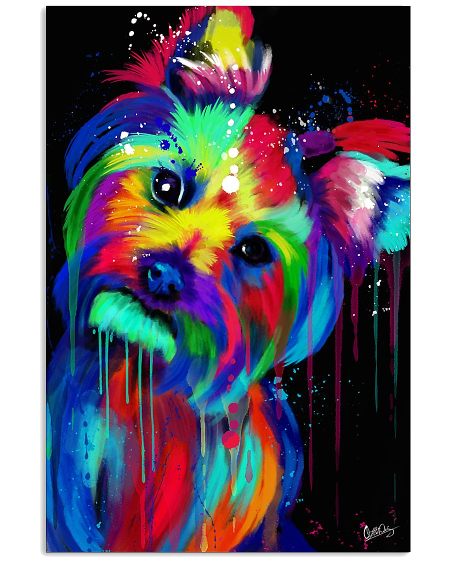 Yorkie Poster colorful painting 11x17 Poster