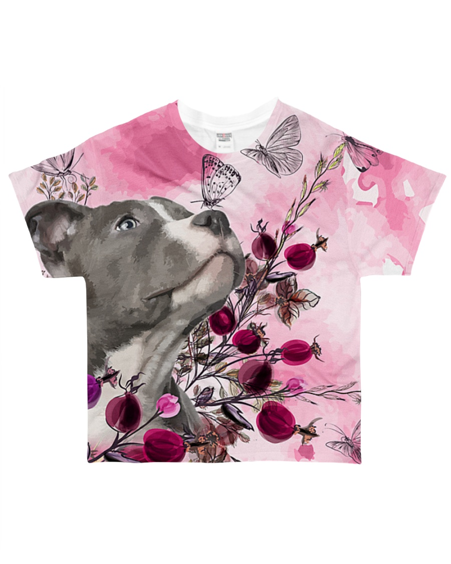 Staffordshire Dog Flowers All-over T-Shirt