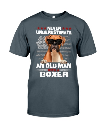 An old man with a Boxer