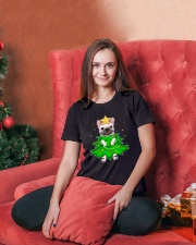 frenchie christmas tree  Ladies T-Shirt lifestyle-holiday-womenscrewneck-front-2
