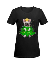 frenchie christmas tree  Ladies T-Shirt women-premium-crewneck-shirt-front