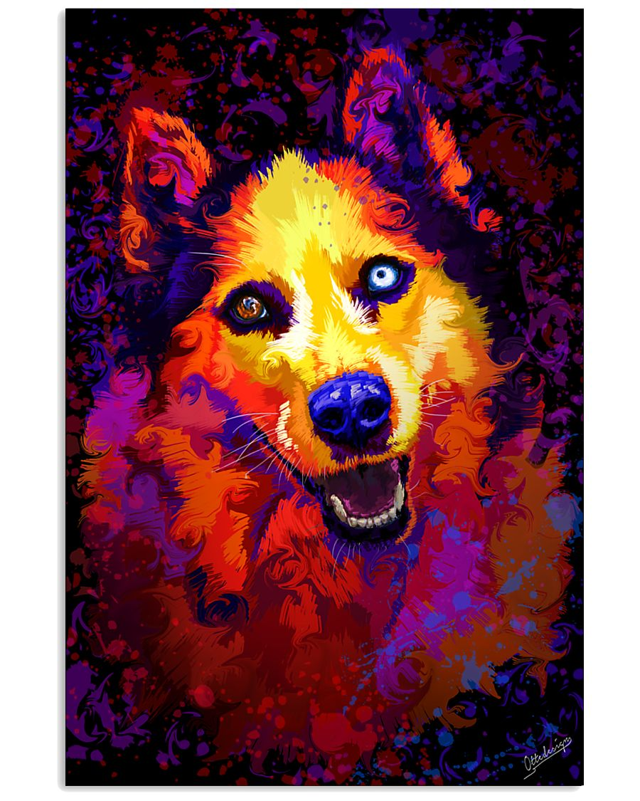 Husky Water Color Art Smile C3 24x36 Poster