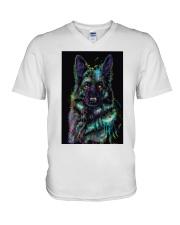 German Shepherd color V-Neck T-Shirt thumbnail