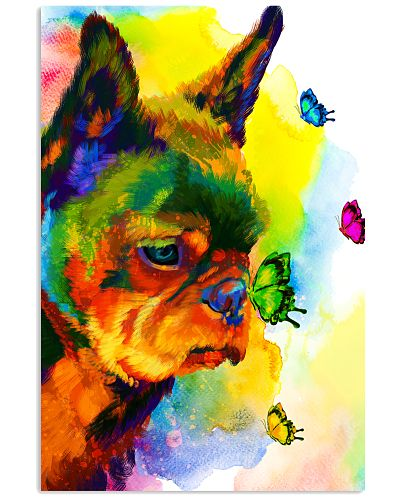 Frenchie Buterfly Water Color