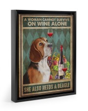 Beagle Wine 11x14 Black Floating Framed Canvas Prints thumbnail