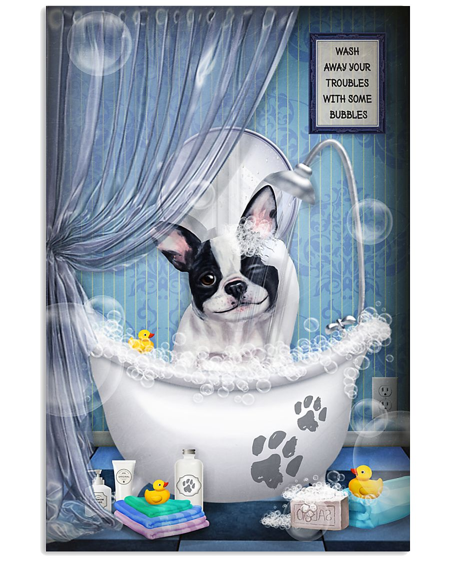 Frenchie Dog Bathtub 16x24 Poster