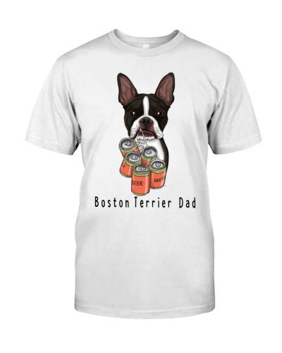 Boston terrier beer dad white
