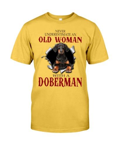 Doberman old woman