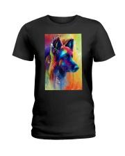 German Shepherd Water Color Art Flow A50 Ladies T-Shirt thumbnail