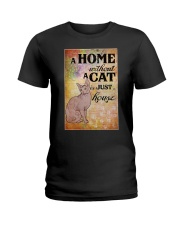 HOME WITHOUT CAT IS JUST A HOUSE Ladies T-Shirt thumbnail