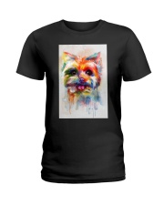 Yorkie Poster Colorful Painting  Ladies T-Shirt thumbnail