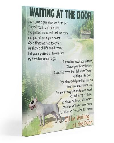 Bull Terrier waiting at the door