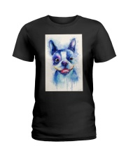 French bulldog Water Color Art Flow X10 Ladies T-Shirt thumbnail