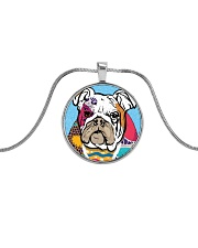 Bulldog color Metallic Circle Necklace front