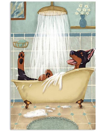 Doberman Happy Bath