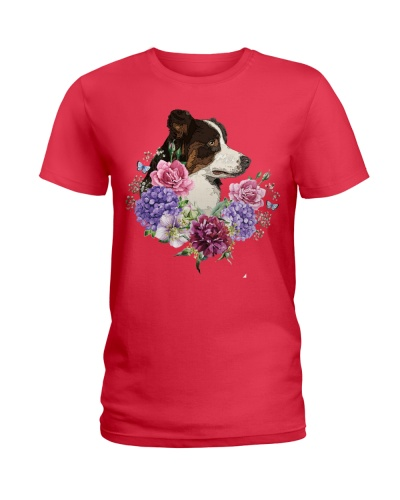 Border Collie T- shirt flower