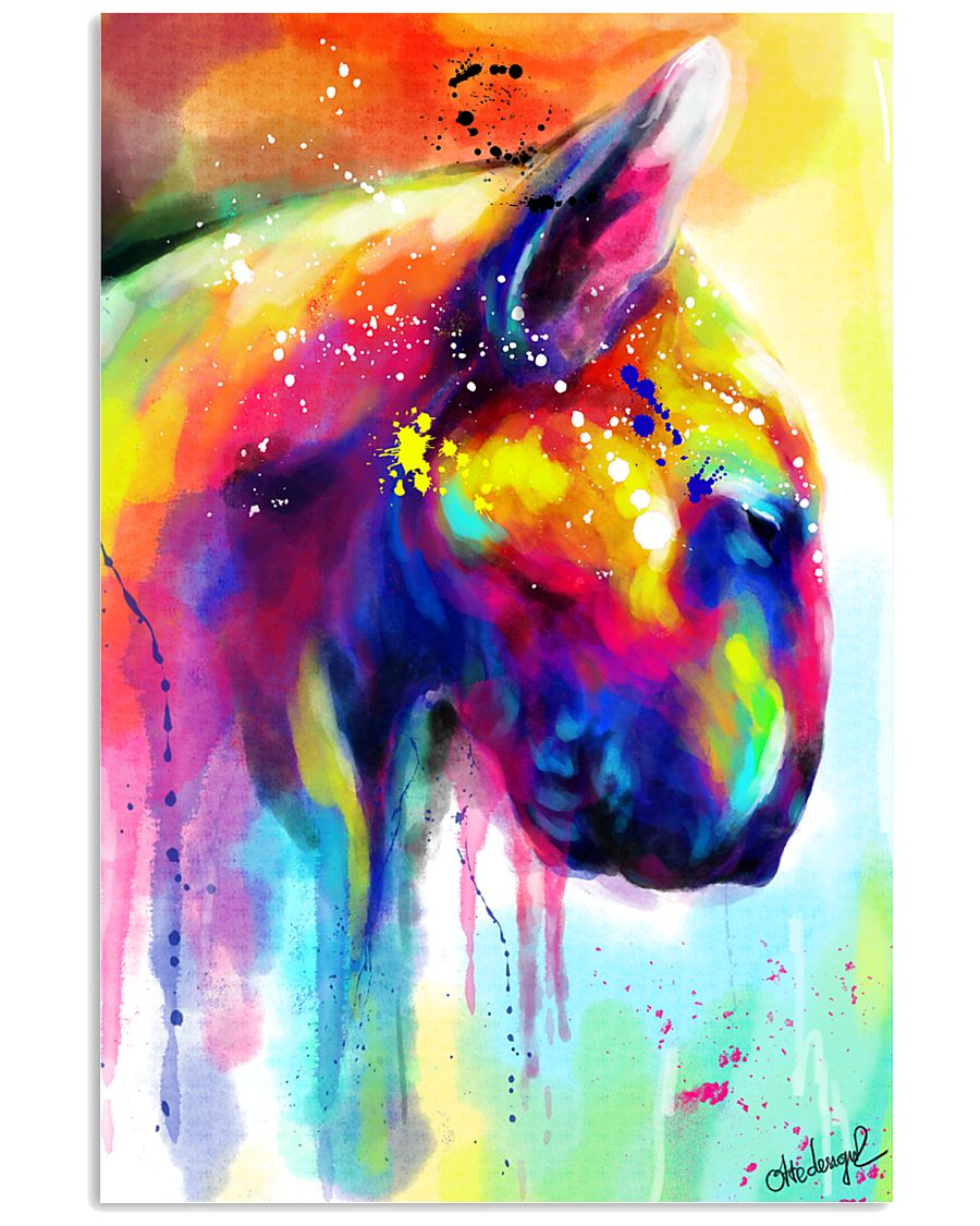 Bull Terrier Poster Water Color  11x17 Poster