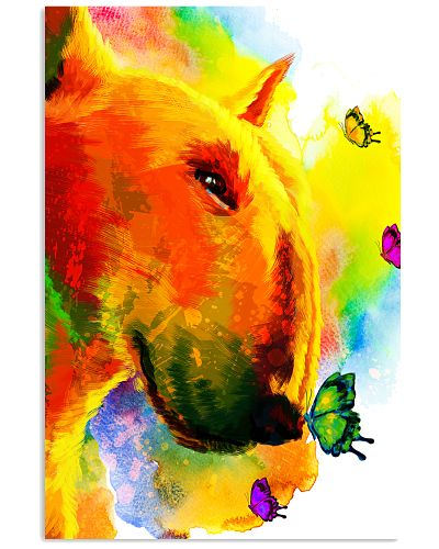 Bull Terrier Buterfly Water Color