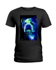 Bulldog Water Color Ladies T-Shirt thumbnail