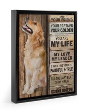 Golden Retriever Partner Floating Framed Canvas Prints Black tile